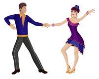 Dansend paar? dat op wit wordt geïsoleerdg Stock Foto's