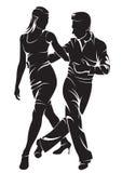 Dansend paar? dat op wit wordt geïsoleerdg Royalty-vrije Stock Foto's