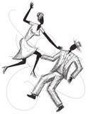 Dansend paar? dat op wit wordt geïsoleerdg Stock Afbeeldingen