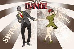 Dansend paar? dat op wit wordt geïsoleerdg vector illustratie
