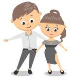 Dansend paar? dat op wit wordt geïsoleerdg De dans van de man en van de vrouw stock illustratie