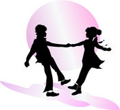 Dansend paar? dat op wit wordt geïsoleerdg Vergadering Illustratie Royalty-vrije Stock Foto's