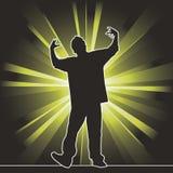 Dansend silhouet, heup-hop Stock Foto's
