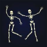 Dansend skelet twee Vectordieillustratie, op zwarte wordt geïsoleerd vector illustratie