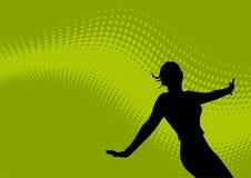 Dansend vrouwelijk en golvend embleem Royalty-vrije Stock Foto