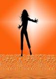 Dansend vrouwensilhouet Stock Foto's