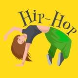 Dansende de hiphopstijl geïsoleerde vectorillustratie van het tienermeisje De jongelui koelt de dansmotie van de dansersonderbrek Stock Foto