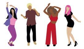 Dansende die mensen op witte achtergrond worden geïsoleerd Nieuwe jaarpartij royalty-vrije illustratie