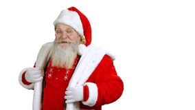 Dansende die Santa Claus op witte achtergrond wordt geïsoleerd stock videobeelden