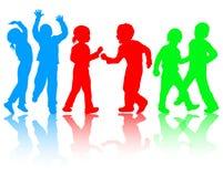 Dansende kinderensilhouetten Stock Afbeeldingen