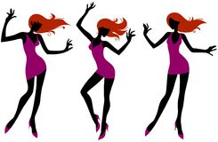 Dansende meisjes Stock Afbeeldingen