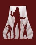 Dansende meisjes op theaterdoos stock illustratie