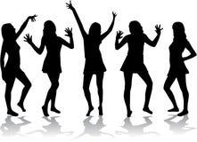 Dansende meisjes - silhouetten. Stock Foto's