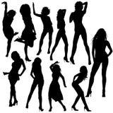 Dansende Meisjessilhouetten Stock Afbeelding