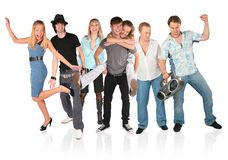 Dansende mensengroep die op wit wordt geïsoleerdo Stock Afbeelding
