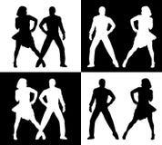 Dansende mensensilhouetten stock illustratie