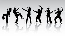Dansende mensensilhouetten Stock Afbeelding