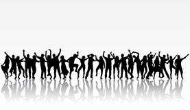Dansende mensensilhouetten Royalty-vrije Stock Afbeelding