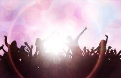 Dansende mensensilhouetten Stock Foto's