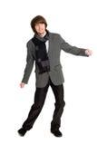 Dansende modieuze jonge mens Royalty-vrije Stock Afbeelding