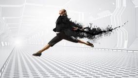 Dansende onderneemster in virtuele ruimte Gemengde media stock foto