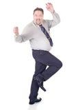 Dansende opgewekte zakenman Royalty-vrije Stock Foto's