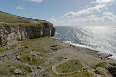 Dansende Richel op de kust van Dorset Stock Foto