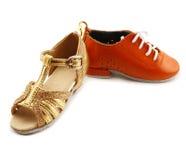 Dansende schoenen die op een witte achtergrond worden geïsoleerdn Stock Fotografie