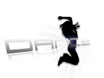 Dansende silhouet witte achtergrond Royalty-vrije Stock Afbeeldingen