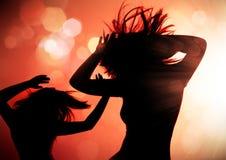 Dansende silhouetten 1 Stock Foto's
