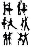 Dansende silhouetten. Royalty-vrije Stock Foto's