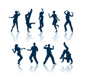 Dansende silhouetten Royalty-vrije Stock Fotografie