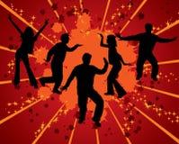 Dansende silhouetten, vector Royalty-vrije Stock Afbeeldingen