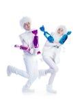 Dansende sneeuwman Stock Afbeeldingen