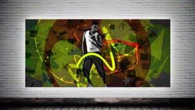 Dansende sportman en graffiti stock footage