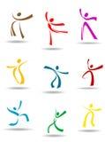 Dansende volkerenpictogrammen Stock Fotografie