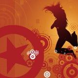 Dansende vrouw en retro achtergrond Royalty-vrije Stock Afbeeldingen