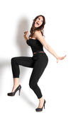 Dansende vrouw met glimlachgezicht Royalty-vrije Stock Afbeelding