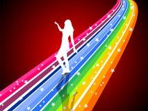 Dansende vrouw op een regenboog Stock Afbeeldingen