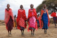 Dansende vrouwen Masai stock afbeelding
