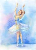 Danser in blauwe tutu vector illustratie