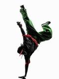 Danser die van de hiphop de acrobatische onderbreking jonge mensenhandstand breakdancing Stock Fotografie