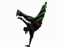 Danser die van de hiphop de acrobatische onderbreking jonge mensenhandstand breakdancing Stock Foto's