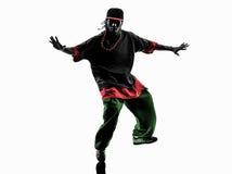 Danser die van de hiphop de acrobatische onderbreking jonge mensensilhouet breakdancing Stock Afbeelding