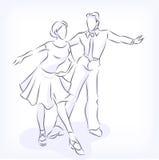 Danser för balsal för pardanslatin snabba vektor illustrationer