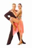 Danser in geïsoleerde actie Stock Foto's