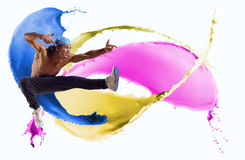 Danser, op een abstracte achtergrond. collage Stock Fotografie