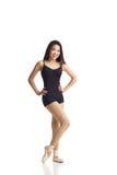 Danser Posing die in Pointe-Schoenen Camera bekijken Stock Foto