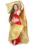 Danser in traditionele rode kleding Stock Afbeeldingen