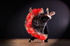 Dansers in balzaal op zwarte worden geïsoleerd die Royalty-vrije Stock Afbeelding